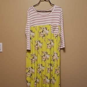 Bright yellow floral dress-never worn!